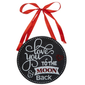 Love You To The Moon Wood Ornament