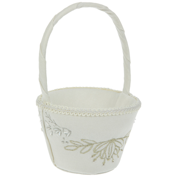 Embroidered Canvas Flower Basket