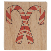 Crossed Candy Canes Rubber Stamp