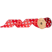 Red & White Polka Dot Satin Wired Edge Ribbon - 2 1/2""
