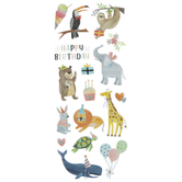 Animal Happy Birthday Foil Stickers