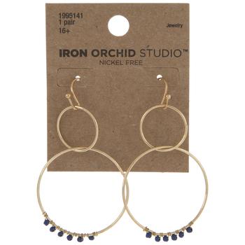 Double Hoop Beaded Dangle Earrings