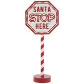Light Up Santa Wood Stop Sign