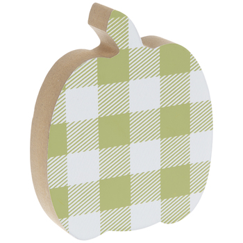 Green & White Buffalo Check Pumpkin Wood Decor