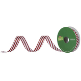 White & Red Glitter Striped Ribbon - 5/8""