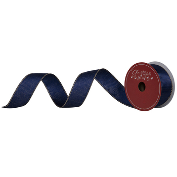 """Blue & Gold Striped Wired Edge Ribbon - 1 1/2"""""""