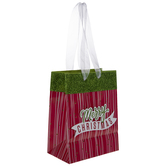 Green, Red & White Striped Merry Christmas Gift Bag