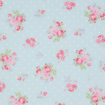 Rose Bouquet & Polka Dot Cotton Calico Fabric