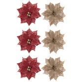 Red & Tan Burlap Poinsettia Embellishments