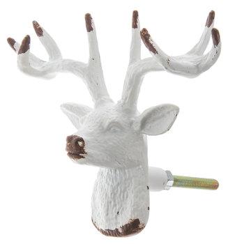 White Metal Deer Head Knob