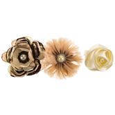 Natural Satin & Sheer Flower Clips