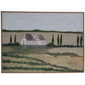 House In Tuscan Countryside Wood Wall Decor