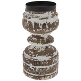 Brown & White Distressed Wood Candle Holder
