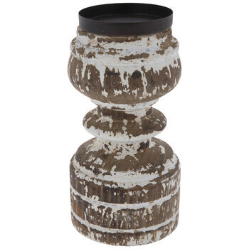 Brown & White Distressed Wood Candle Holder - Medium