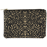 Black & Gold Animal Print Cosmetic Pouch