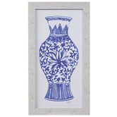 White & Blue Vase Wood Wall Decor