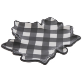 Black & White Buffalo Check Leaf Plate