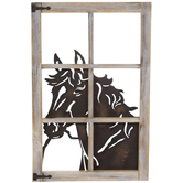 Horse Window Wood Wall Decor