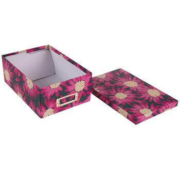 Pink & Gray Floral Storage Box