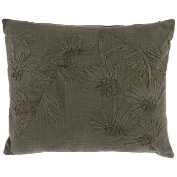 Green Daisy Embroidered Pillow