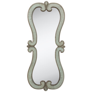 Antique Turquoise Wood Wall Mirror