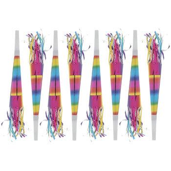 Rainbow Foil Party Horns