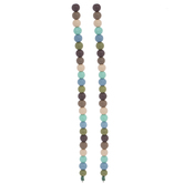 Brown, Blue & Green Round Glass Bead Strands