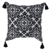 White & Black Tile Tasseled Pillow
