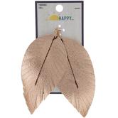 Metallic Leather Leaf Pendants