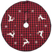 Reindeer Buffalo Check Tree Skirt