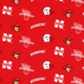 Nebraska Allover Collegiate Cotton Fabric