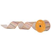 "Green, Orange & Burgundy Striped Wired Edge Burlap Ribbon - 2 1/2"""