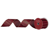 Red & Gold Striped Wired Edge Ribbon - 2 1/2""