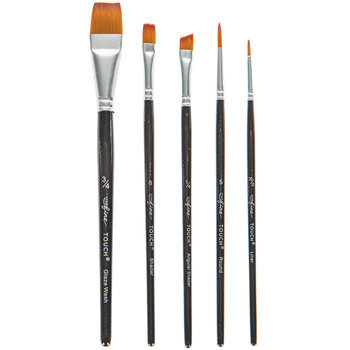 Gold Taklon Paint Brushes - 5 Piece Set