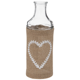 Glass & Burlap Vase With Heart