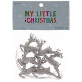 Mini Silver Glitter Reindeer Ornaments
