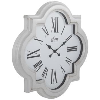 White Quatrefoil Wall Clock