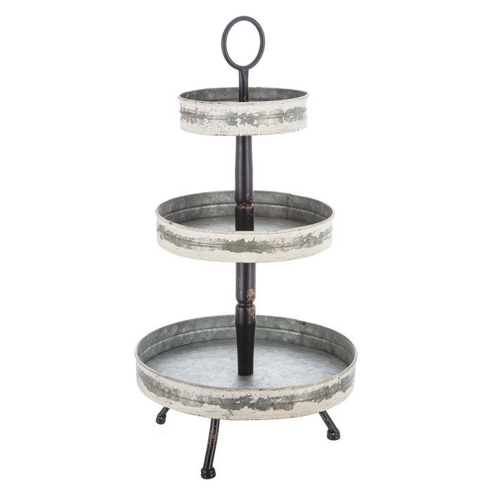 White Distressed Galvanized Metal Round Three Tiered Tray Hobby Lobby 1550292