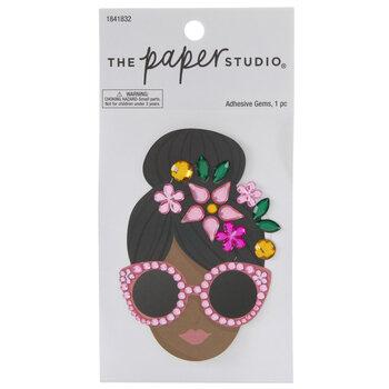 Girl In Sunglasses Rhinestone Sticker