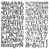 Black Boho Glitter Alphabet Stickers