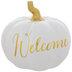 White & Gold Welcome Pumpkin