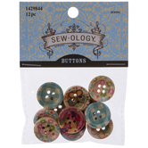 Gingham & Floral Wood Buttons - 18mm