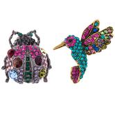 Bird & Beetle Rhinestone Brooches