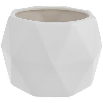 White Geometric Flower Pot