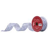 "Blue & Silver Glitter Quatrefoil Wired Edge Ribbon - 1 1/2"""