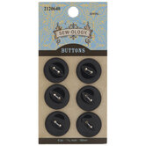 Black Cat Eye Round Buttons - 18mm