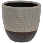 Gray & Brown Crosshatch Flower Pot