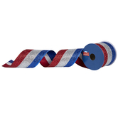 """Red, Silver & Blue Wired Edge Ribbon - 2 1/2"""""""