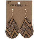 Striped & Patterned Cork Teardrop Earrings