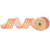 "Orange & White Gingham Wired Edge Ribbon - 1 1/2"""